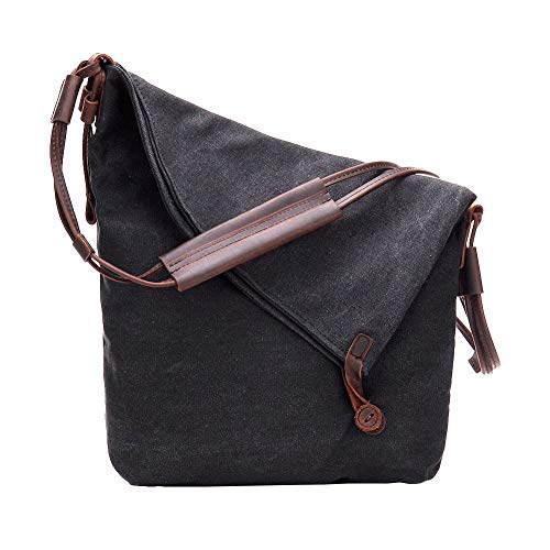 1ba02c8054 VRIKOO Casual Crazy Horse Leather Canvas Crossbody Messenger Bag Classic  Retro Shouder Weekender Bag For Unisex
