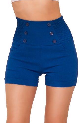 Taille haute sophistiqués chic à la mode avant de bouton Vintage Shorts Inspired Bleu Saphir