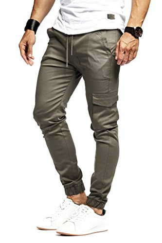 Leif Nelson Herren Jogger Chino Cargo Jeans Hose Freitzeithose LN8071; Größe XXL; Taupe