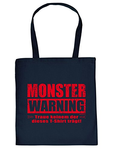 Monster Warning Halloween Tote Bag Henkeltasche Tragetasche Must-have Stofftasche Geschenkidee Fun