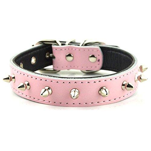 BTPDIAN Bulldoggenhalsband echtes Leder Anti-Beiß Nieten Kragen Bit Hund Bull Terrier Hundekette Sicherheitsgurte für Hunde (Farbe : Pink Two-Piece, größe : S) -