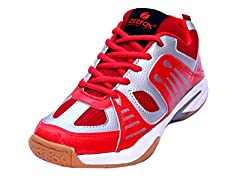 Zeefox Mens Sparx Red Non-Marking Badminton Shoes/Sports Shoes by Dazzal, Size 9