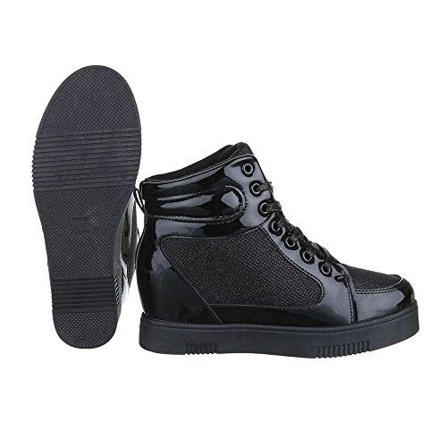 Keilstiefeletten Damen Schuhe Plateau Keilabsatz/ Wedge Schnürer Schnürsenkel Ital-Design Stiefeletten Schwarz