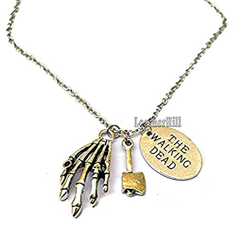 The Walking Dead Daryl Necklace - Zombie Hand and Hammer Charm and Walking Dead Logo Pendant (Silver)