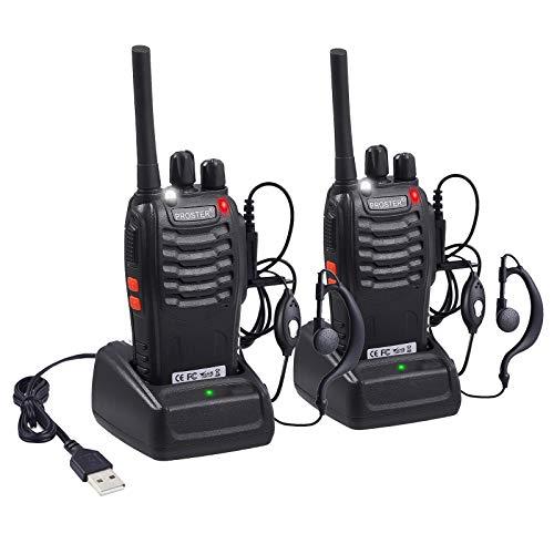 Proster Walkies Talkies Batería Recargable Walky Talky Profesionales 16 Canales CTCSS DCS Transmisores Receptores Radiocomunicación Gran Alcance Emisora Radio con Pinganillos