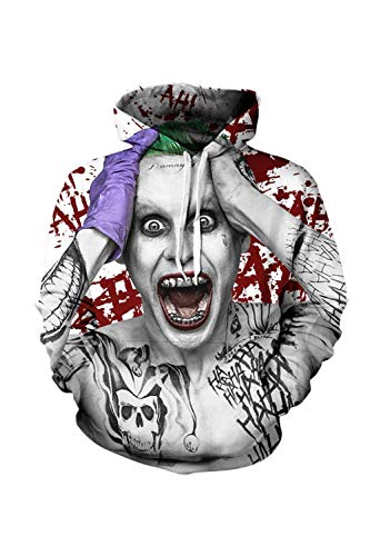 Nimpansa Mujeres Hombres Sudaderas Pareja con Capucha Sudaderas De Juego Joker Print Jersey Diariamente Blanco2 3XL