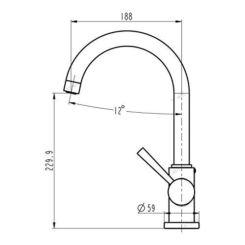 Niederdruck Spültisch Armatur Wasserhahn Einhebelmischer Mischbatterie Küche in gebürsteter Edelstahloptik und hohem Rundbogenauslauf inkl. Befestigungsmaterial und Montageanleitung -