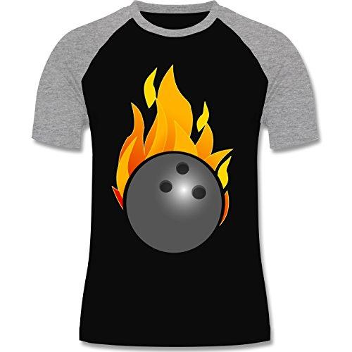 Shirtracer Bowling & Kegeln - Bowling Ball Flammen Bunt - Herren Baseball Shirt Schwarz/Grau Meliert