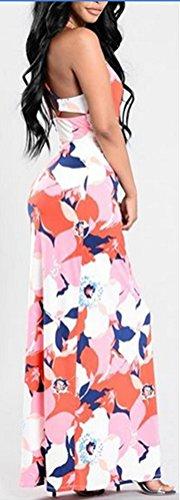 Blansdi Damen Elegant Sommer U-Ausschnitt Ärmellos Floral Blumen Strech Bodycon Strandkleid Maxi Lang Trägerkleid Spaghetti-Bügel Cocktail Party Bluse Kleider Rot