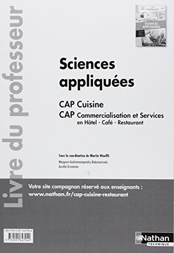 Sciences appliquées CAP cuisine CAP commercialisation et services en HCR 1re/2e années : Livre du professeur