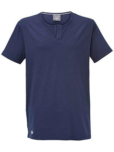 Lacoste Underwear Herren Henley Sleep Tee Schlafanzugoberteil, Blau (Dunkelblau 803), Medium -