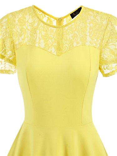 IVNIS Damen Spitze Vintage Kleid 50er Rockabilly A-Linie Kurzarm Brautjungfernkleid Cocktail Partykleid Gelb