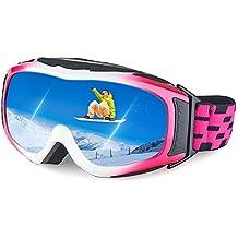 Ewin G05 Esquí Nieve Snowboard Motonieve Patinaje de Hielo Gafas de Proteccion para Hombres y Mujeres, Esquí Snowboarding Deportes al Aire Libre, Vision Esferica Real REVO Lente Antiniebla (Rosado)
