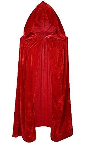 Unisex Kinder Mädchen Jungen Umhang für Vampir Halloween Party Kostüm Cap Kapuze Karneval Fasching Kostüm Cape 100CM (Lange Rote Umhang Kostüm)