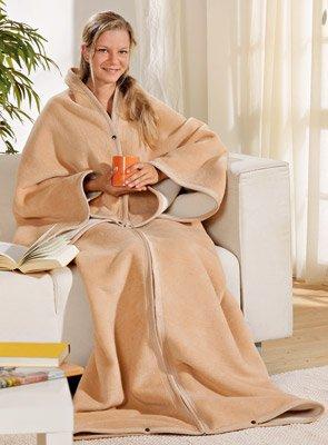 Wohnmantel aus Schurwolle und Baumwolle, 150x180cm