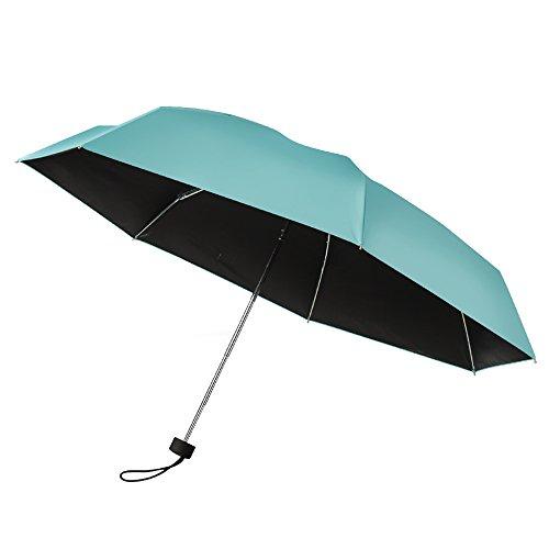 Price comparison product image Plemo Umbrella Tiffany-blue Travel Compact Lightweight Ultra Mini Pocket Size Anti-UV Parasol Windproof Umbrella, 34.6 Inch1 Year Warranty