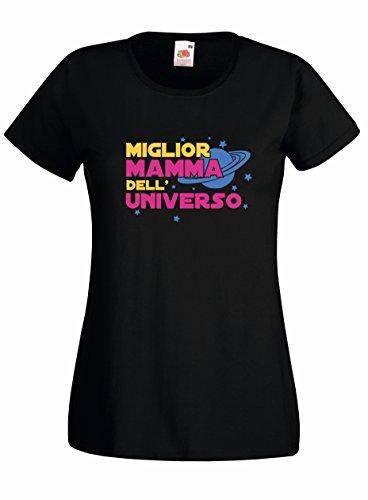 Settantallora Shirt Maglietta Donna J2492 Miglior Mamma del Mondo Nero