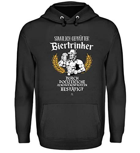 Lustig von Polizei staatlich geprüfter Biertrinker Bier Bierkrug T-Shirt Alkohol Geschenk - Unisex Kapuzenpullover Hoodie -XXL-Jet Schwarz