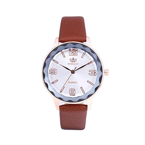 Luotuo Armbanduhr für Damen mit Analog Quarz, High-End Glasspiegel und Lederarmband - Wasserdichte Damen Watch,Einzigartiges Zifferblattdesign - Klassische, Elegante Uhr für Frauen