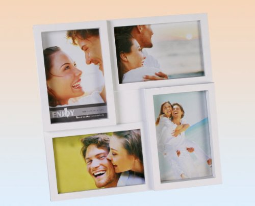 Out of the blue 94/2286 Kunststoff-Bilderrahmen für 4 Fotos,  10 x 15 cm, weiß