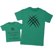 Zarlivia Clothing Tranquilos Mi Papá ES Wolverine - Regalo Para Padres y Bebés EN Un Camiseta Para Bebés y Una Camiseta de Hombre a Juego