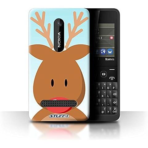 Carcasa/Funda STUFF4 dura para el Nokia Asha 210 / serie: Carácter de Navidad - Rudolph/Renos