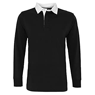 Asquith & Fox Mens Classic Fit Long Sleeve Vintage Rugby Shirt (L) (Black)