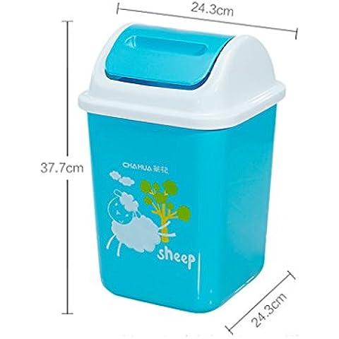Agitare copertura Trash europeo della casa di modo WC cucina bidoni classificati bagagli Botti Botti Salute ( colore : Blu