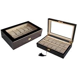 Holz Uhrenvitrine Uhrenbox für 12 Uhren stabile Holzuhrenschatulle mit Echtglas