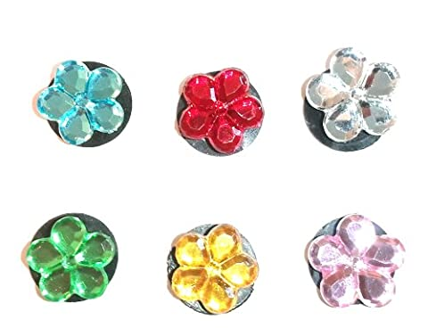6 pc Set of Shoe Charms Crystal Flowers