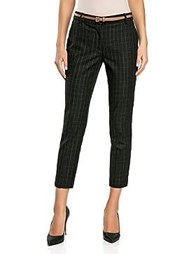 oodji Collection Mujer Pantalones a Cuadros de Tejido Grueso