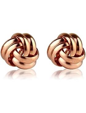 9ct Rose Gold vergoldet auf Sterling Silber Spirale Knoten Ohrstecker