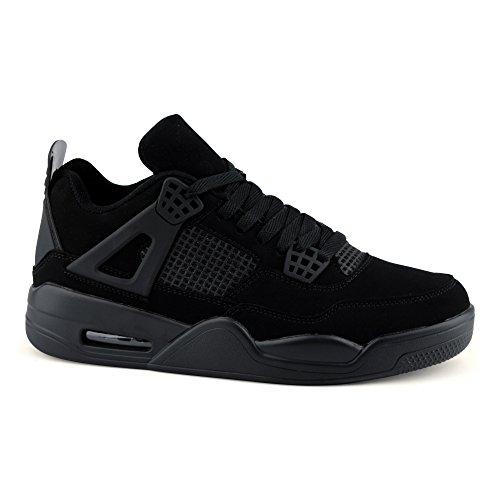 FiveSix Herren Sportschuhe Low Top Sneaker Basketballschuhe Velours-Optik Freizeitschuhe Schuhe Schwarz
