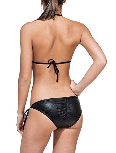 MPitude Women's Faux Leather Wet Look Bikini Bra Panty Set (Black, Free Size)