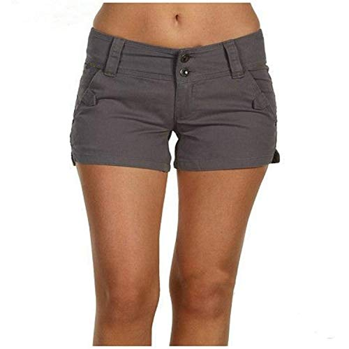 ZHOUJINGTIAN Pantaloncini da Donna Estate Femminile Tinta Unita Casual Slim Stretch Pantaloncini Taglia Grande Grigio Scuro 2XL