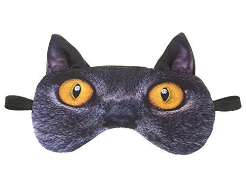 Schlafmaske mit Ohren Reise Relax Augen-maske Abdeckung Bett Nickerchen Augenbinde Seine Schwarz Muster Tier Kreatives Gesicht Britische Katze mit Ohren [042]