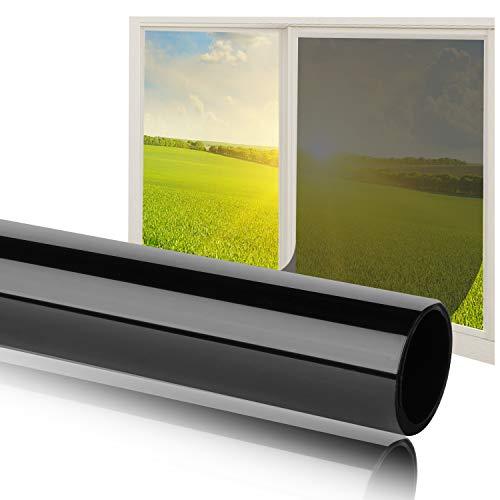 Fortunam Sonnenschutz Fensterfolie Selbsthaftend Spiegelfolie für Fenster Folie für Sonnenschutz Fenster Außen und Innen Sonnenschutzfolie für Schlafzimmer UV-Schutz Fensteraufkleber 75x300cm -