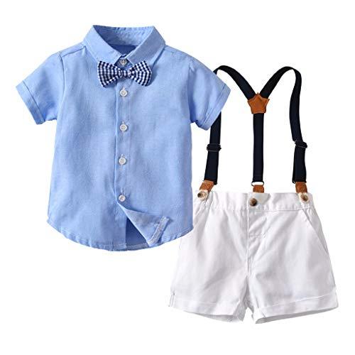 WUSIKY Frühling Sommer Infant Baby Jungen Gentleman Kurzarm Fliege T-Shirt Elegante Tops Shorts Overalls Outfits Kleidung für die ()