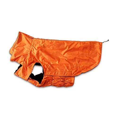 Siberian Husky Hund T-shirt (Hugooo Wasserdichte Hundemantel Jacke, Gefüttert Fleece Wärmere Kleidung für Sehr Große Hunde Raincoat Leichtbau mit Bauchschutz XXXL - Orange Große 57CM Lange)