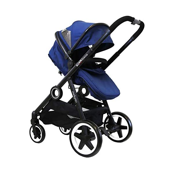 iSafe Me&You Inline Tandem Travel System with Second Seat & Rain Cover - Royal Blue iSafe Sleek & Eye Catching Matte Black Chassis, Weighing Only 16Kgs Easy One Second Fold, For Those Parents On The Go Soft Grip Extendable 3 Height Handle, To Suit Parents Of Any Height 6