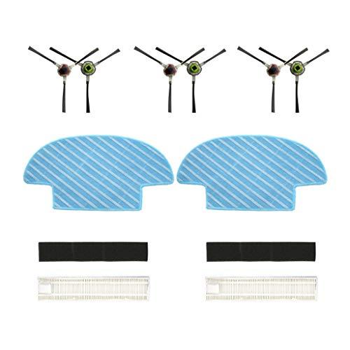 Zubehör for Ecovacs Ersatzkit Ersatzteile für Ecovacs Slim Slim 2 Sweepers Saugroboter -Teile Ersatz (2*Trocken/Nass zu wischen Reinigungstuch + 2 *Filter+3 Pair Seitenbürste) -