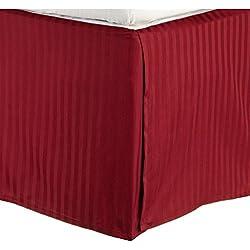 Impressions Superior - Falda de cama, 152 x 203 x 38 cm, de algodón de 300 hilos, color rojo burdeos a rayas