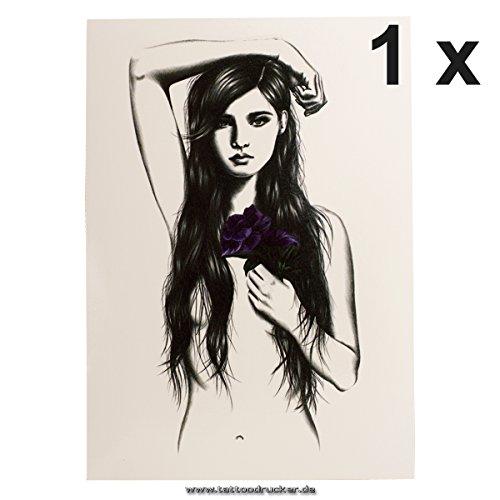 1 x Nacktes Sexy Mädchen mit Blume - XL Temporäres Haut Tattoo - HB478 (1)