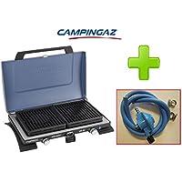 Hornillo portátil de acampada 2Fuegos Modelo 400sg Campingaz plegable a maletín con rejillas extraíbles y innovativi quemadores tecnoligia XCELERATE + Kit Regulador Casquillo Francia para bombonas Campingaz (Azul)