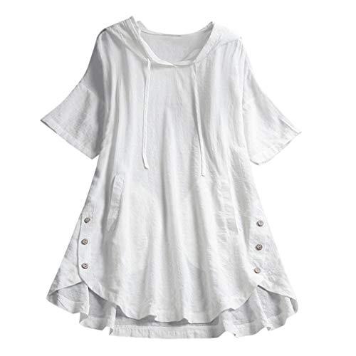 öße T-Shirt Baumwolle Leinen T Shirt Oversized Knöpfe Oberteile Hoodie Frauen Plaid Button Mit Kapuze High Low Plus Size Bluse mit Taschen Bluse ()