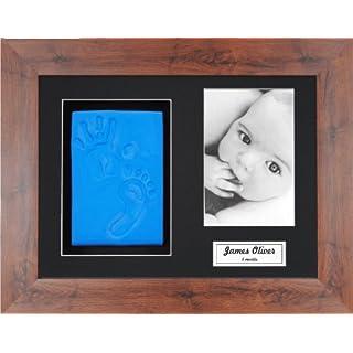 Anika-Baby BabyRice Baby Boy Handprint Footprint Kit Soft Blue Clay Dough Mahogany Effect Box Photo Display Frame