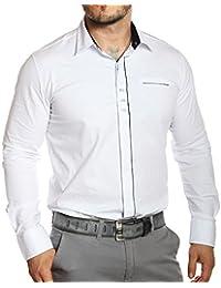 Carisma - Chemise homme blanche col italien à motifs manches longues