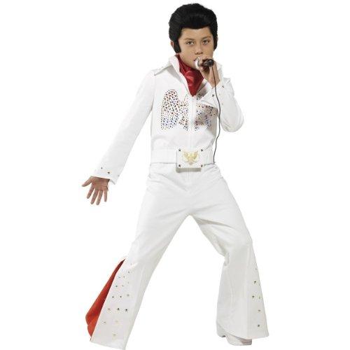 Karneval Kinder Kostüm Elvis 60er Jahre Rockstar weiß Größe L