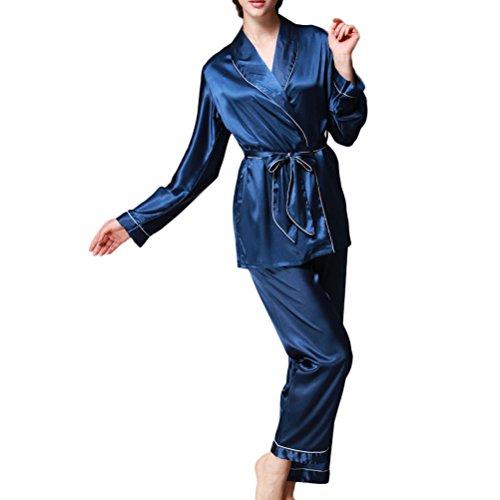 Nanxson(TM) Pyjama Vêtement De Nuit Soie Pour Femmes SYW0025 bleu foncé