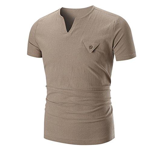 UFACE Einfarbiges Kurzarm-T-Shirt für Männer Männer Sommer Casual Solid O Neck Pullover Kurzarm...
